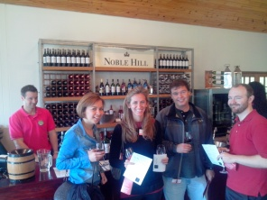 11 am - just got our glass from Noble Hill Farm. 5 wines to taste there, the Syrah was great and for 60R a bottle (not even 5 euros) had to bring some home